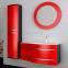 Комплект мебели Botticelli для ванной комнаты: тумба с умывальником Vanessa 110 красная, пенал и зеркало 4