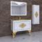 Тумба с умывальником Marsan Christine 1000 белая (золото/хром) 3