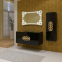 Тумба с умывальником Marsan Malvine 900 черная (золото/хром) 3