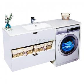 Тумба над стиральной машиной Fancy Marble Vivara 1500 L/R с умывальником Lauretta 1500
