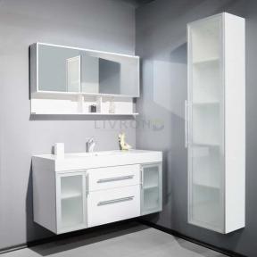 Комплект мебели Fancy Marble: тумба Barbados 2-120 ШН-82 с раковиной Nadja 120, Зеркальный шкафчик MC-Butterfly и пенал SCG MC-Butterfl без подсветки