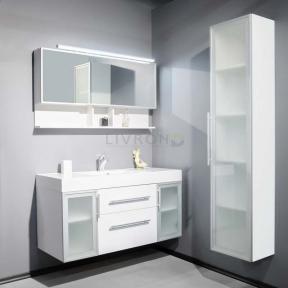 Комплект мебели Fancy Marble: тумба Barbados 2-120 ШН-82 с раковиной Nadja 120, Зеркальный шкафчик MC-Butterfly с LED подсветкой и пенал SCG