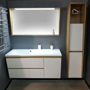 Комплект мебели Fancy Marble для ванной комнаты: тумба CYPRUS с умывальником (PEGGY 1250 L/R), LED зеркало с полкой и пенал с корзиной для белья
