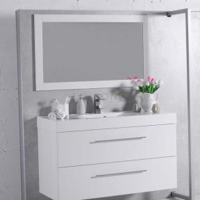 Комплект мебели Fancy Marble для ванной комнаты: тумба Barbados 120 ШН-8 с раковиной Nadja 120 (0212101) c зеркалом в рамке Белая