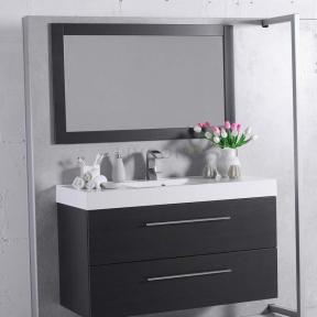 Комплект мебели Fancy Marble для ванной комнаты: тумба Barbados 120 ШН-8 с раковиной Nadja 120 (0212101) c зеркалом в рамке Венге