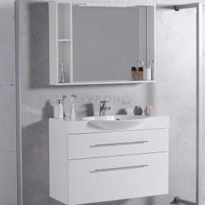 Комплект мебели Fancy Marble для ванной комнаты: тумба Sumatra 2 ШН-309 с раковиной Carme 980C (3410101) и LED зеркальным шкафом ШЗ-98 Белый