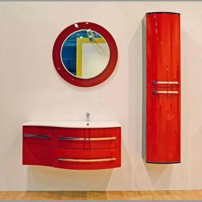 Комплект мебели Botticelli для ванной комнаты: тумба с умывальником Vanessa 110 красная, пенал и зеркало