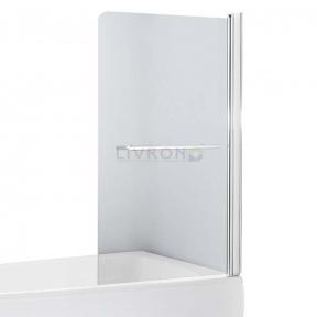 Душевая шторка на ванну одностворчатая Eger 80х150 см, правая, профиль хром, стекло прозрачное 599-02R