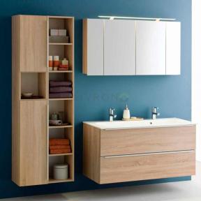 Комплект мебели для ванной комнаты под заказ (Тумба с умывальником, два пенала и зеркальный шкафчик)