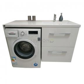 Тумба над стиральной машиной для ванной комнаты с умывальником под заказ 1250х620 мм