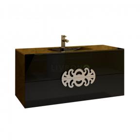 Тумба с умывальником Marsan Malvine 900 черная (золото/хром)