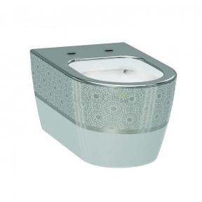 Унитаз подвесной Idevit Alfa белый/декор серебро без сиденья 3104-2616-1201