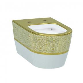 Унитаз подвесной Idevit Alfa белый/декор золото без сиденья 3104-2616-1101
