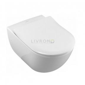 Унитаз подвесной Villeroy&Boch Avento Rimfree DirectFlush 5656RSR1 с покрытием Ceramic Plus c сиденьем Soft close